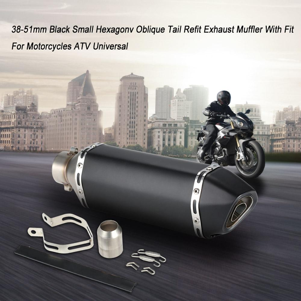 Pnndee All Black Universal 38-51mm Slip-on Modified Motorcycle Exhaust Pipe Muffler for Street//Sport Motorcycles and Scooters