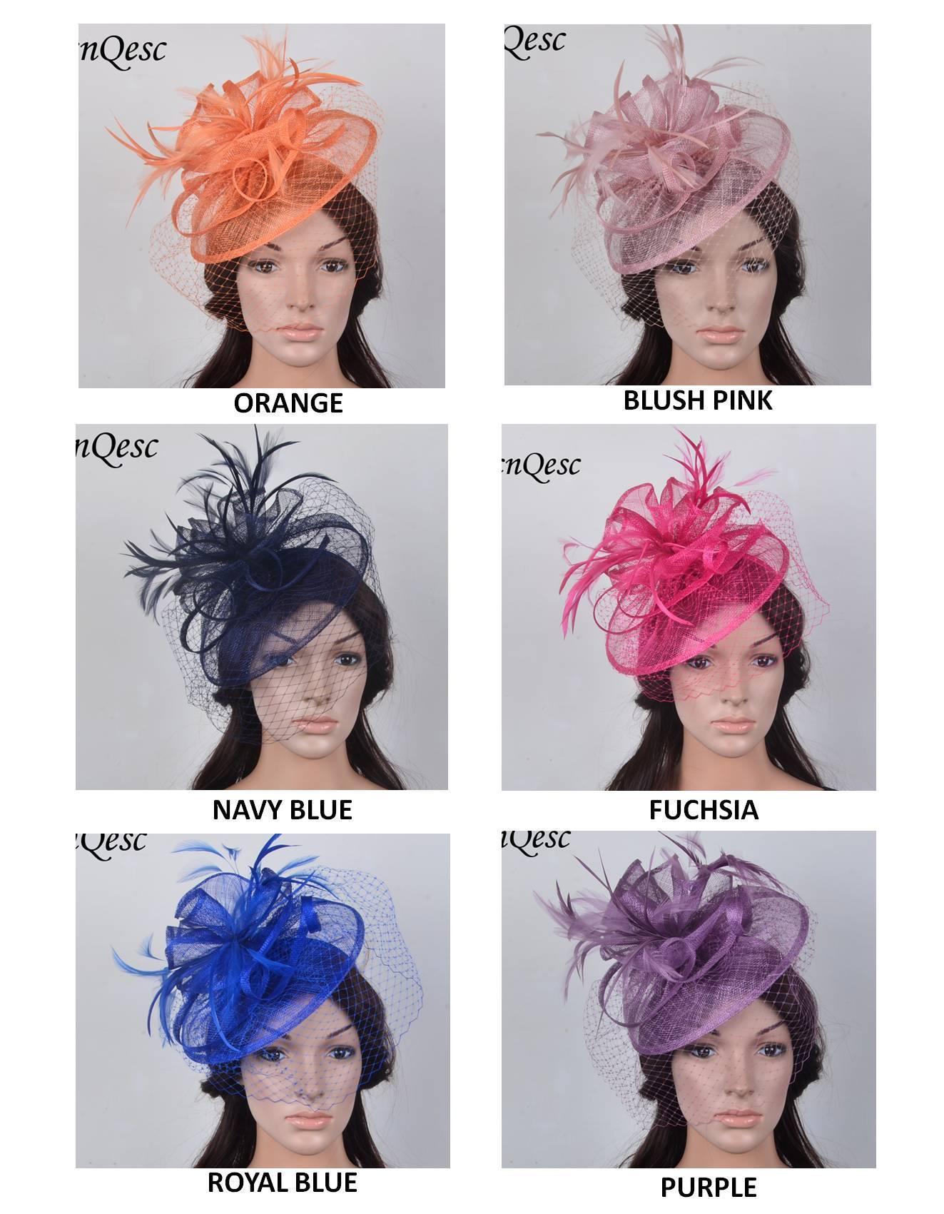 NUOVO DISEGNO Cappellino di piume sinamay HOT di alta qualità con copricapo di piume Kentucky Derby Royal cappello da sposa con velo