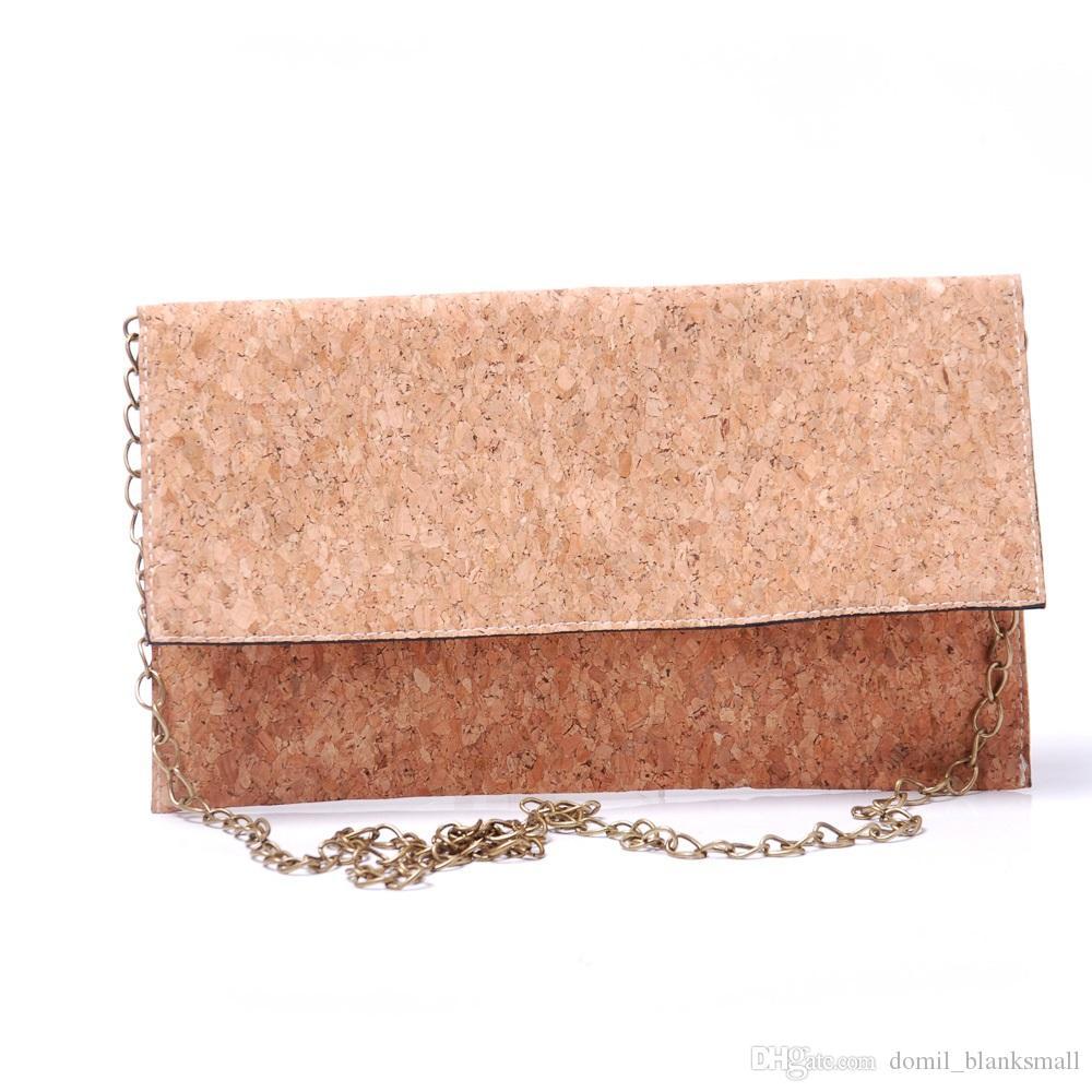 Full Cork Crossbody Bag Blanks Women Envelope Fold Clutch Purse Wholesale RTS Sling Shoulder Bag With Bronze Metal Chain DOM964