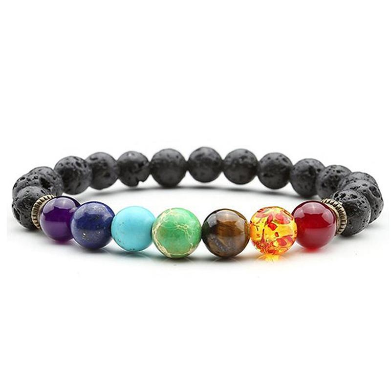 7 Chakra Pulsera Hombre Negro Lava Curación Balance Beads Buda Oración Piedra Natural Yoga Difusor de Aceite Esencial Pulsera Mujer