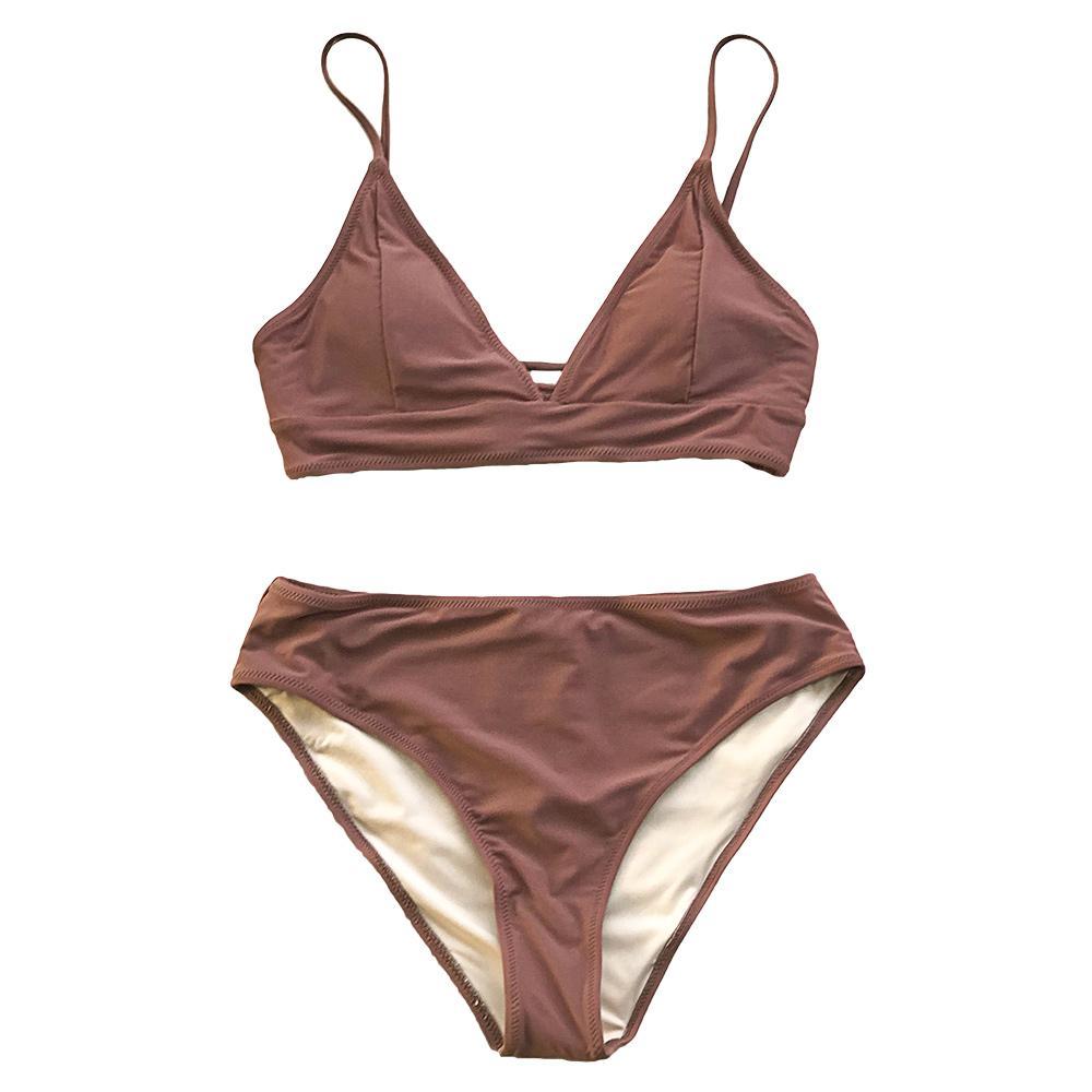 Brown à lacets Bikini Ensembles femmes Triangle Mid taille Maillots deux 2020 Fille Plaine Plage Maillot de bain Maillots de bain