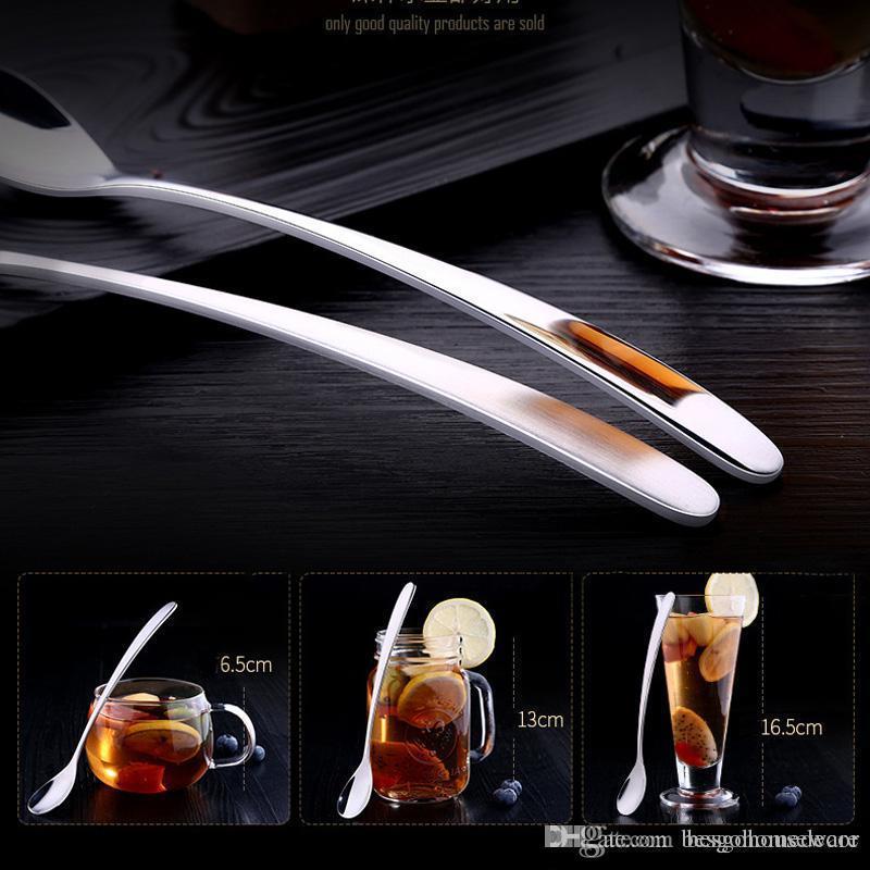 Paslanmaz Çelik Uzun Kol Kalp Kaşık Yaratıcı Çay Tea Bar Smooth Surface Kaşık Ayna Yansıma Kaşık BH0504 TQQ Şeklinde Sevimli Kalp