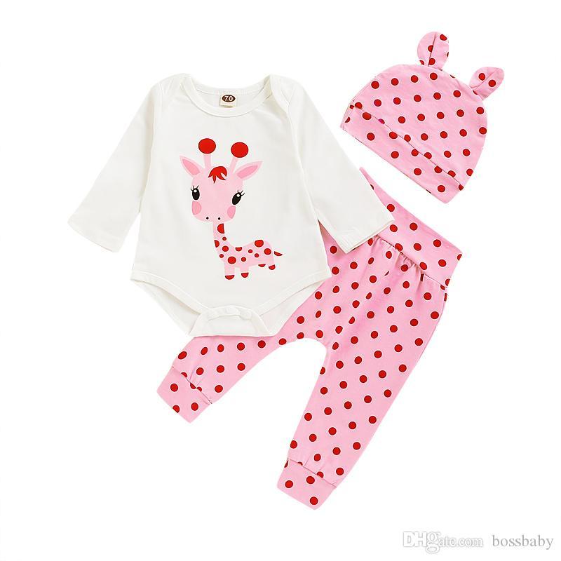 Baby Brief Outfits Kinder Fest Langarmshirts Kinder der beiläufige Kleidung der Mädchen-Punkt-Hosen-Kleinkind-Baby-Kleidung Sets mit Hüten Stirnband 06
