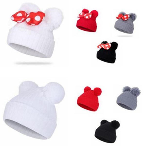 Kids Hats Mouse Ears Beanie Bowknot Cap Baby Fashion Knitting Boys Girls Winter Warm Hat Children Outdoor Warm Hat WY62Q