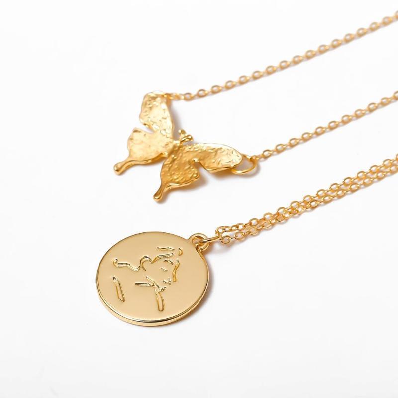 Joyería linda mariposa de la cadena de clavícula Animal para Hadas Mujeres Retrato de la moneda de los colgantes del EGirl punk Collier