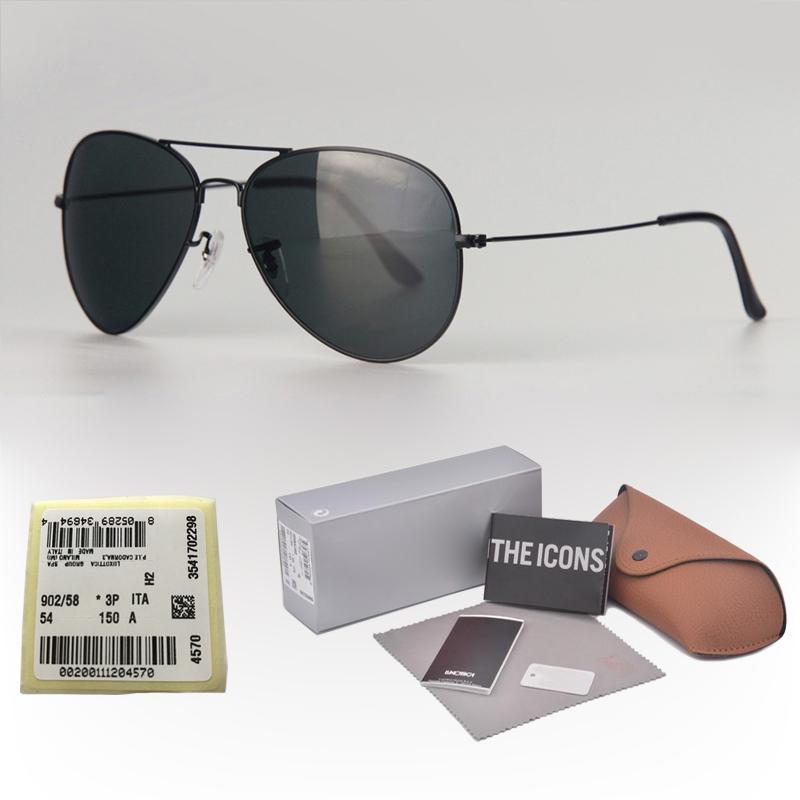 luxo- óculos de sol das mulheres dos homens clássico Pilot Sun óculos de condução óculos Metal Frame UV400 espelho lentes de vidro com caixa de varejo e etiqueta