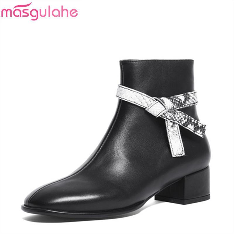 Masgulahe nouvelle arrivée 2020 automne bottes femme chaussures habillées à bout rond bottes en cuir véritable dames noires cheville cheville