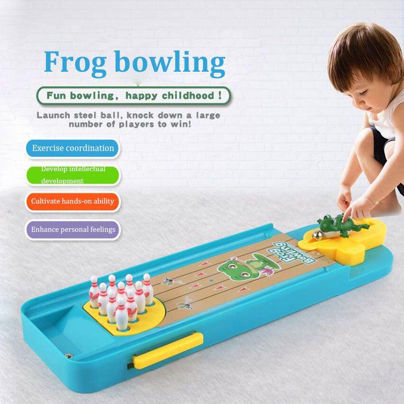 Mini Desktop Bowling Game Set Finger Fun Parent-Child Decompression Creative Table Games Toys Portable Indoor Frog Bowling