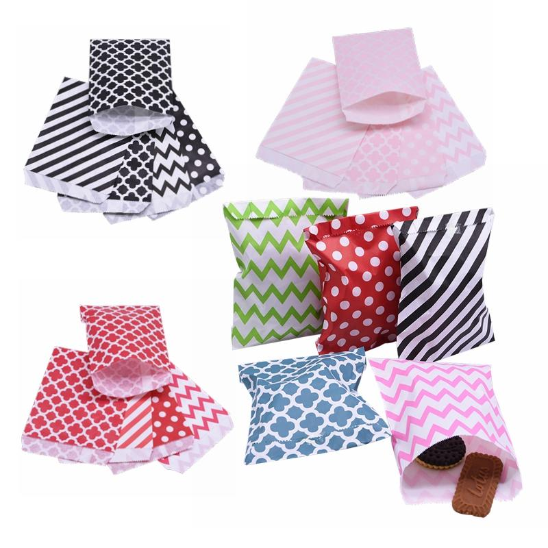 25pc Mixcolor Kraft Paper Bag Treat Candy Bags Chevron Polka Dot Bag Cookie Packaging Party Favors Gift Wedding Supplier