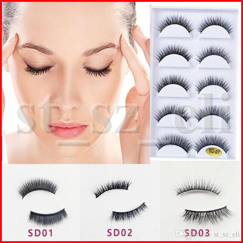 41 types 3D Thick False Eyelashes Blue Black Long Thick Cross Handmade eye lashes makeupMink Eyelashes