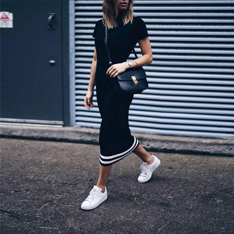 Mulheres Moda painéis Dresses Color Contrast Designer Magro manga curta Bodycon Vestidos Verão Roupa das senhoras
