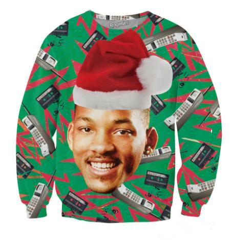 3D Fashion Fresh Prince Christmas Crewneck Sweatshirt Will Smith with Christmas Hat Sweatshirt for Womens/ Mens Men's Hoodies & Sweatshirts