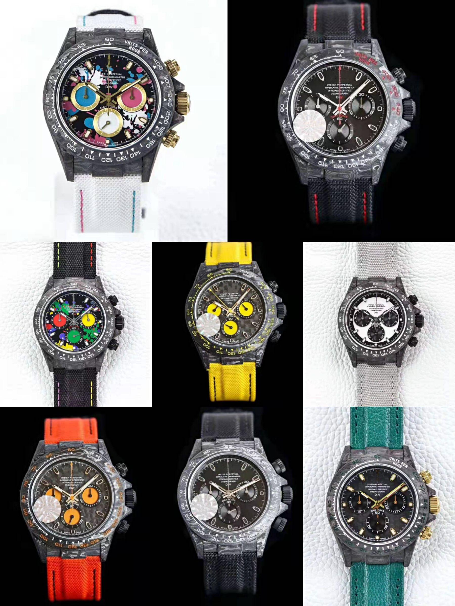 8 стилей DIW пользовательские часы углеродное волокно роскошные мужские часы 116500LN 116506 116519 7750 MESSING WOKING CHRONOGHE MENS автоматическая наручные часы