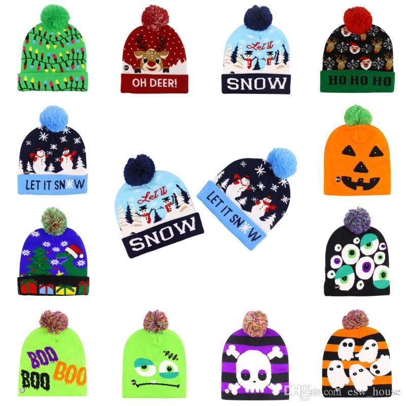 크리스마스 LED 니트 모자 LED 할로윈 크리스마스 비니 니트 모자 패션 겨울 따뜻한 두개골 자란 공 크리스마스 할로윈 모자 캡