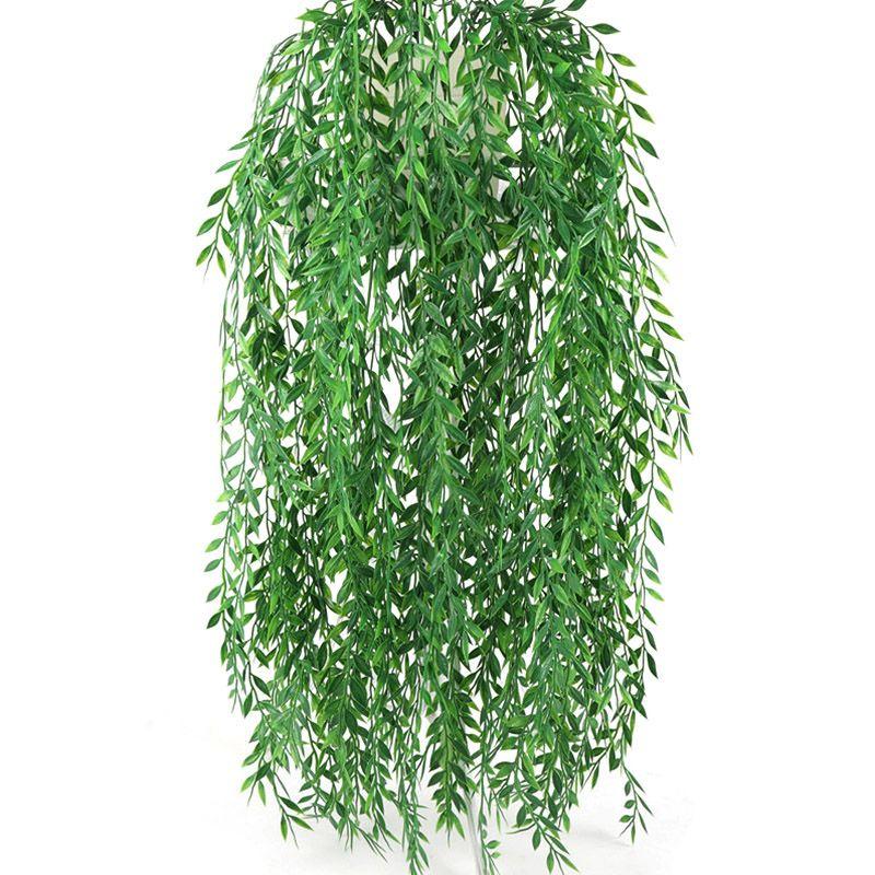 55cm Fleurs Artificielles Rotin Faux Feuilles Tenture Murale Vert Rotin Pour La Maison Jardin Décoration Vert Saule Feuilles Plants De Vigne