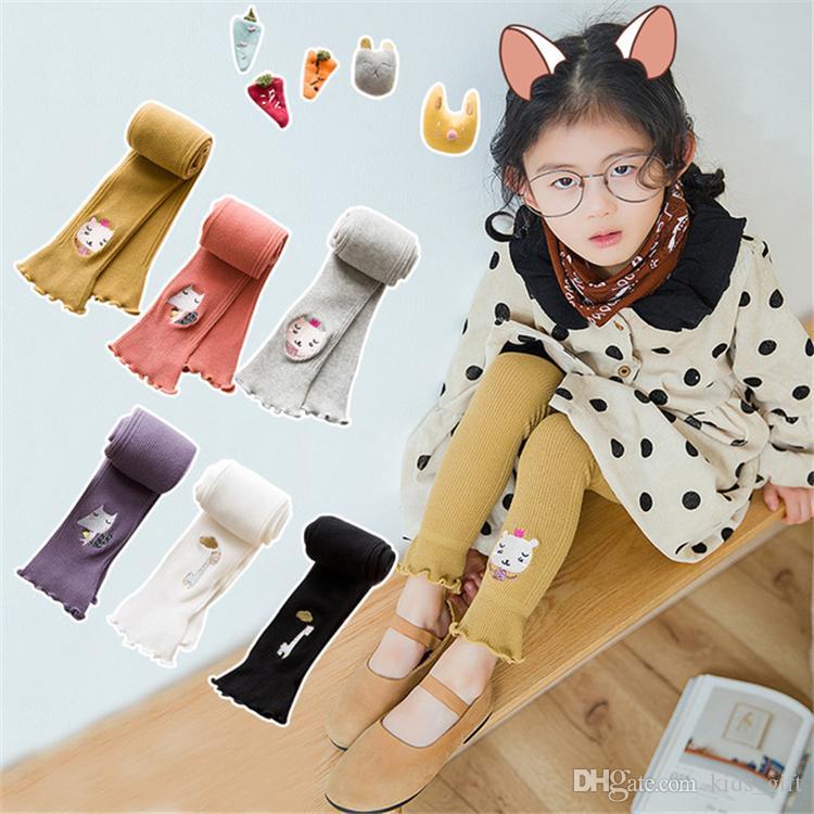 Leggings enfants Filles 12 couleurs 1-8t filles Leggings Coton mignon broderie Cartoon Mode enfants Vêtements Designer filles DHL FJ206 Pantyhose
