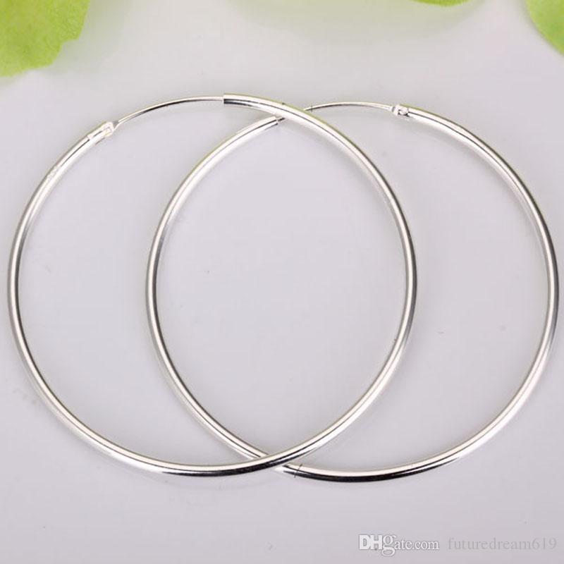 оптовые 925 серебряные простые большие серьги круг! 925 серебро 50мм круглые ювелирные изделия серьги обруча, ювелирные изделия 925 женщин