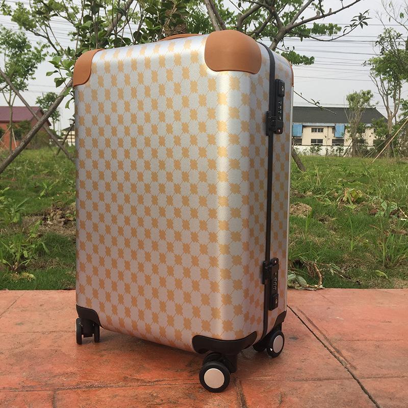Retro Plaid Wide luggage case Quxiao Gauze 20-inch Luggage Ode to Joy 2 Liu Tao Andy Same Suitcase Female designer