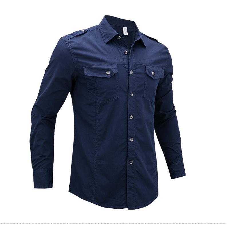 Además ocasional del tamaño 5XL 5XL estilo camisas de los hombres del algodón del otoño del Ejército piloto táctico moda masculina camiseta de manga larga