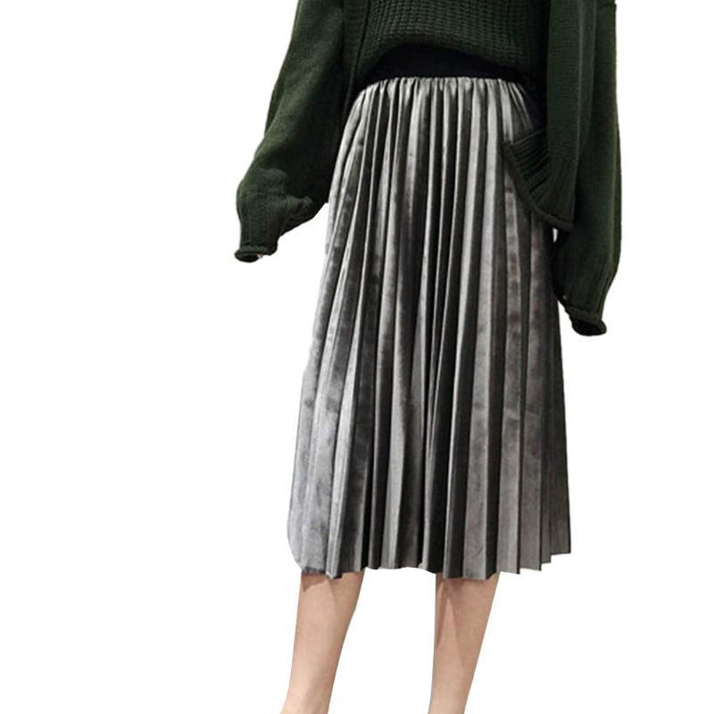 New cintura alta novo 2020 outono e inverno seção apertado de veludo das mulheres saia plissada saia de veludo cintura alta plissada