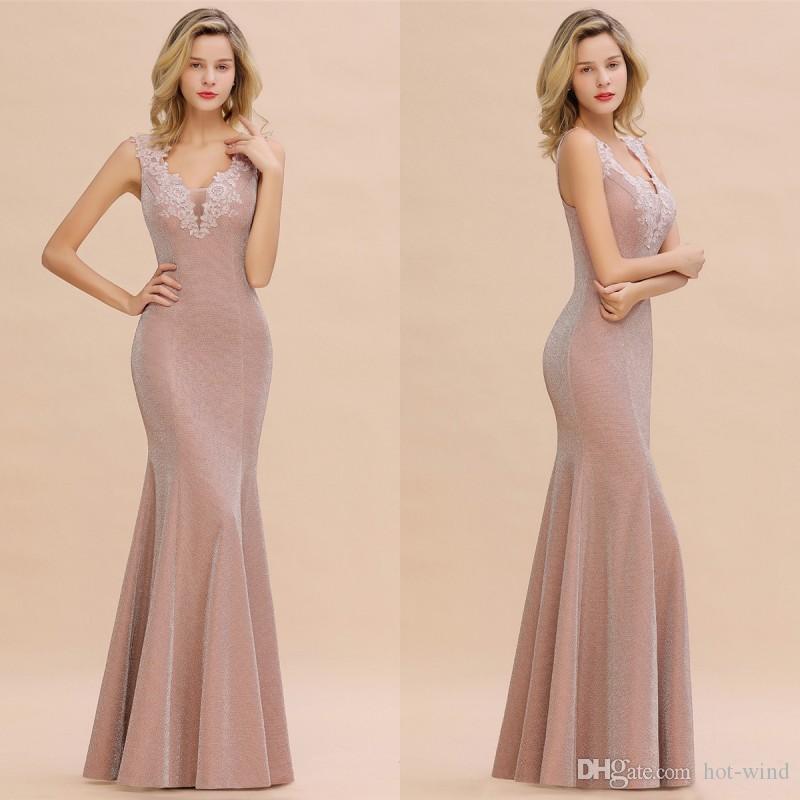 Sexy col en V profond sirène robes de soirée bal Backless élégante dentelle lumineuse en soie Robes Dusty Rose Robe de Soirée Longue