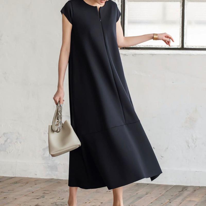 Japan-Sommer-Frauen Plain langes Kleid mit kurzen Ärmeln A-Linie koreanische Art-einfache beiläufige Kleider Damen Arbeitskleidung Vestidos