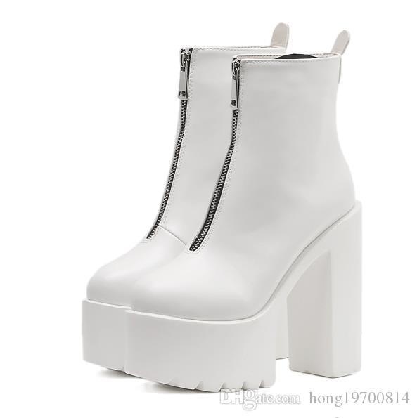 Kadın Süper yüksek topuk ayak bileği çizmeler hiçbir strappy Yüksek topuklu 15 cm bahar sonbahar rahat ayak bileği siyah beyaz çizmeler Punk Ayakkabı