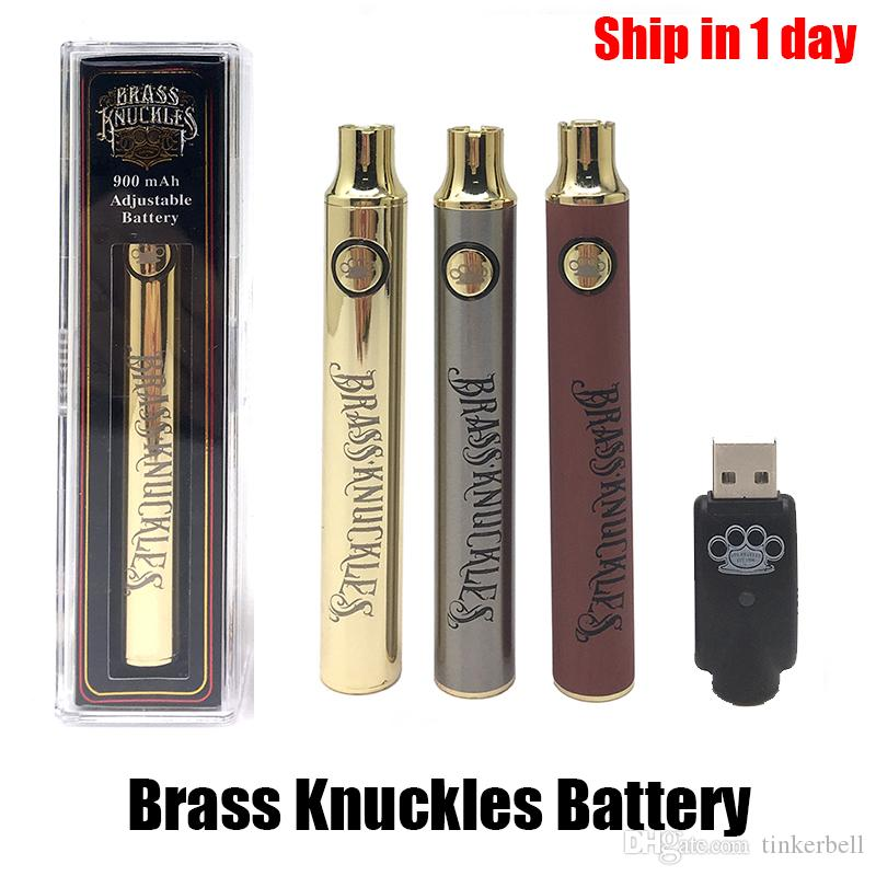 Brass Thuckles Batteria 900mAh in legno oro argento regolabile tensione regolabile penna preriscaldamento BK FIT 510 Cartuccia filettatura