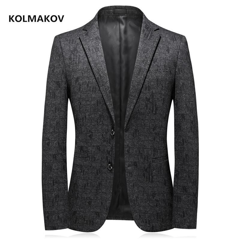 2020 sonbahar yeni varış erkek blazer kaliteli rahat ceket erkek, örme kumaş erkek ceketleri Elastik kalınlaşma