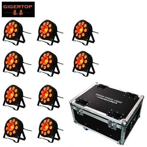 10in1 Flightcase Pacote 9pcs 3W Tricolor 3in1 LED RGB 1pcs 30w LED Par luzes Dmx Stage Equipment Dj
