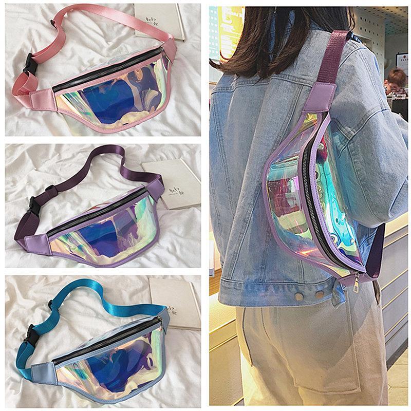 Modedesigner Fanny Pack Damen Laser Iridescence Umhängetasche Brusttaschen Schultertasche Zipper Gürtel Taschen Reisen Sport Messager Taschen New