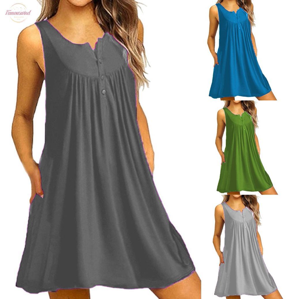 New 2020 Komfortabler Damen Plain Sommer V-Ausschnitt Kurzarm beiläufige feste Taschen-T-Shirt-Kleid Vestidos Sukienki 19515