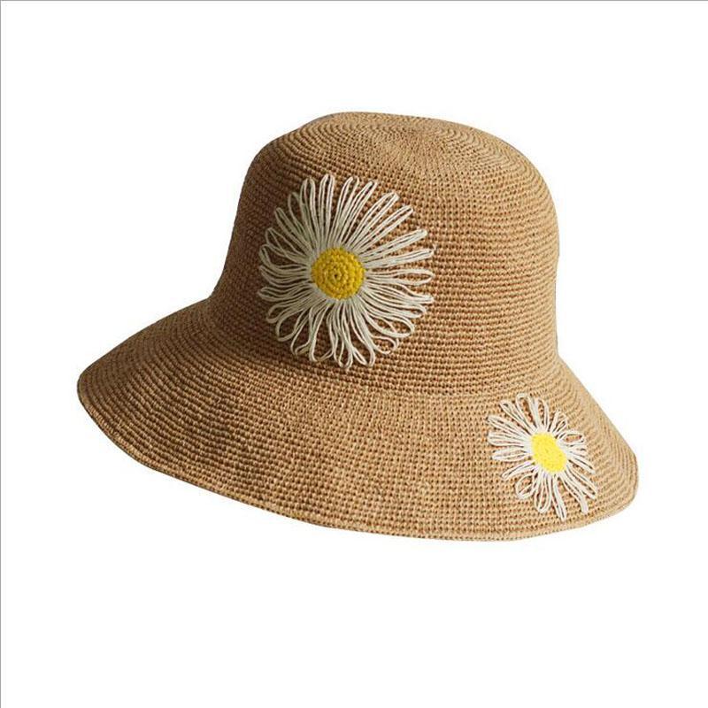 Sun Flower Strohhut für Frauen Sommer breiter Krempe Sun Beach Hats Hand gehäkelt Visier Fischer Hut Lady Floppy faltbare Becken Kappe