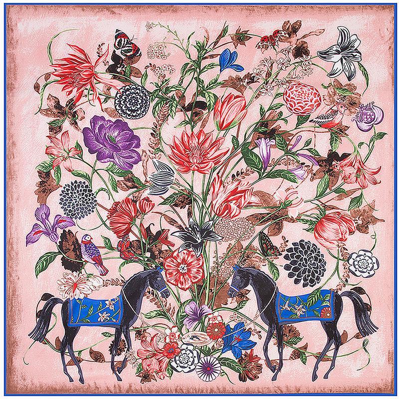 Piazza della Seta Donne floreale cavallo della stampa H Sciarpa di lusso di design Partita Foulard Femme écharpe grandi sciarpe Dropshipping 130 * 130CM