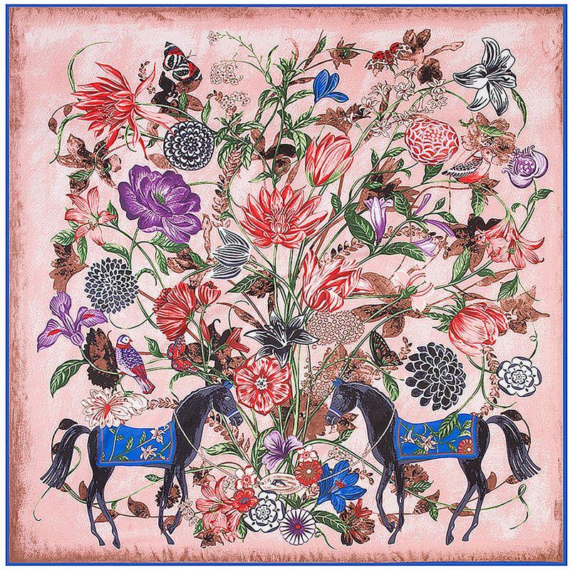 Place soie Femmes Floral Cheval H Imprimer Écharpe Luxury Design sélectionl Femme Foulard Echarpe grande Echarpes Dropshipping 130 * 130cm