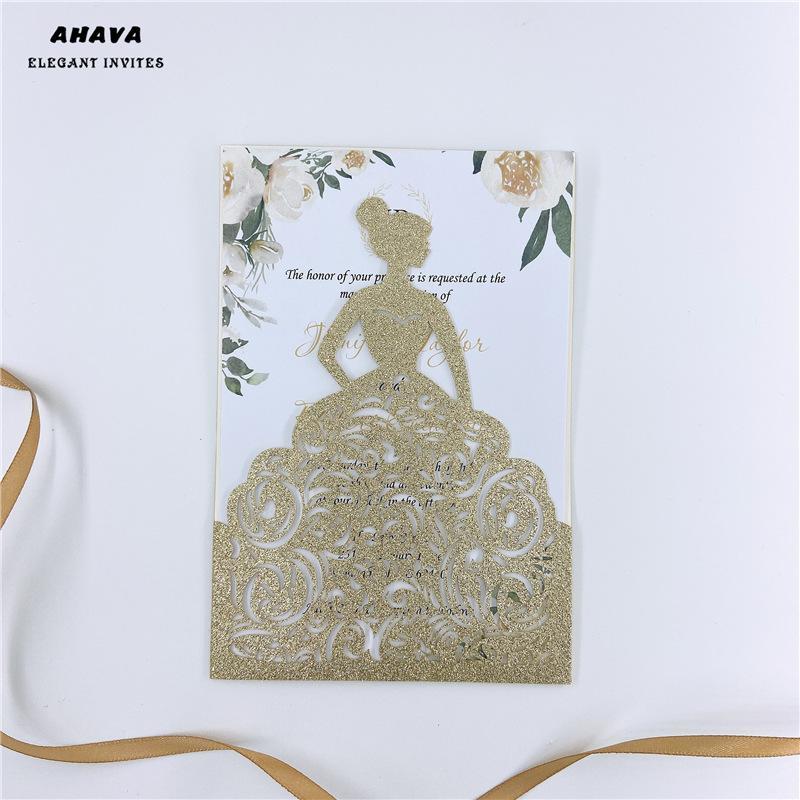 50* Glitter champagne laser cut wedding invitation cards 4 Girls' birthday bride shower sweet 15 16 Quinceanera free shipping