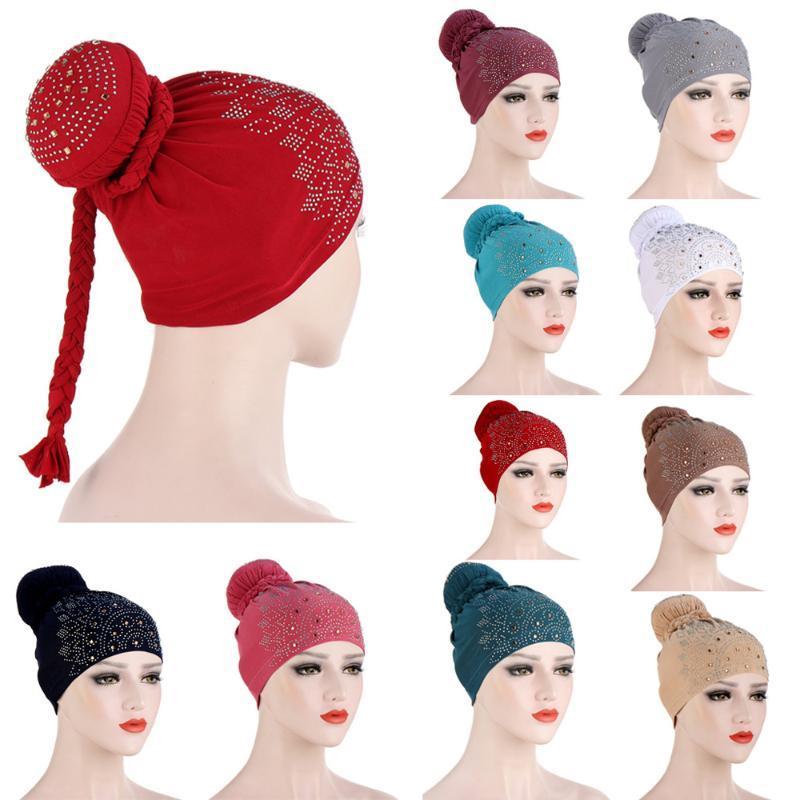 Потеря мусульманских Женщин Шапочка Skullies Rhinestone Узел Braid Bonnet тюрбан волосы Hat Химиотерапия рак банданы арабское исламское Headwrap Нового