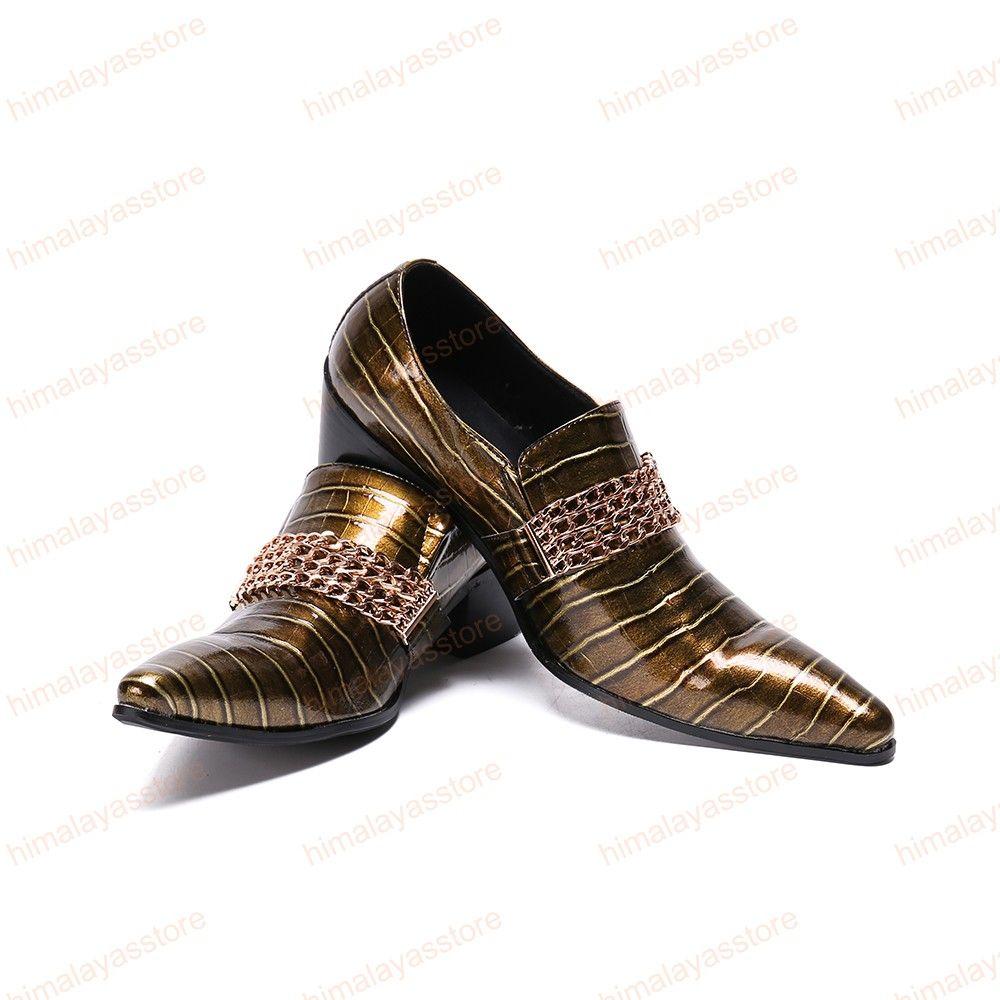 Британский стиль мужской плюс размер металла острым носом обувь из натуральной кожи горный хрусталь мужская мода партии обувь