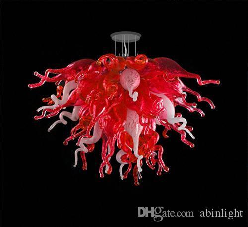 Dernier lustre rouge soufflé à la main de la main contemporain Hôtel contemporain Décoration de l'art Murano Art Pendentif Lums, LR1100