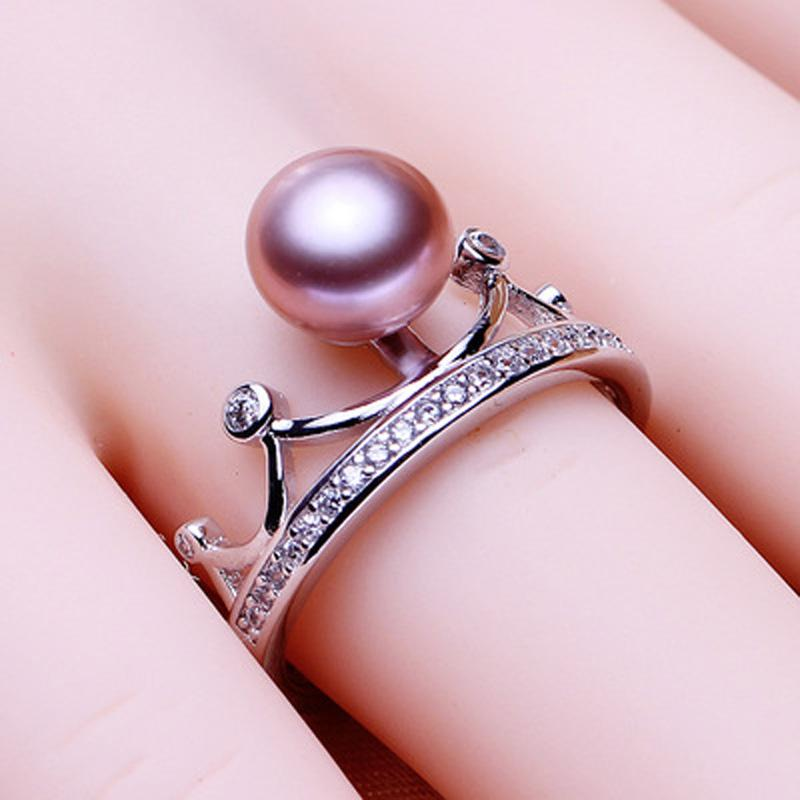 ASHIQI High Quality Genuine 925 Sterling Silver Crown Ring Natural freshwater pearl Ring for Women Resizable Engagement jewelry
