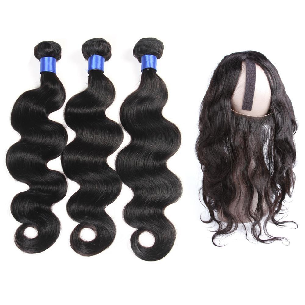 8a peruana do cabelo humano com fecho 3 Pacote onda do corpo pré arrancado 360 frontal com feixes orelha à orelha ajustável 360 frontal de fecho 22 * 4 * 2