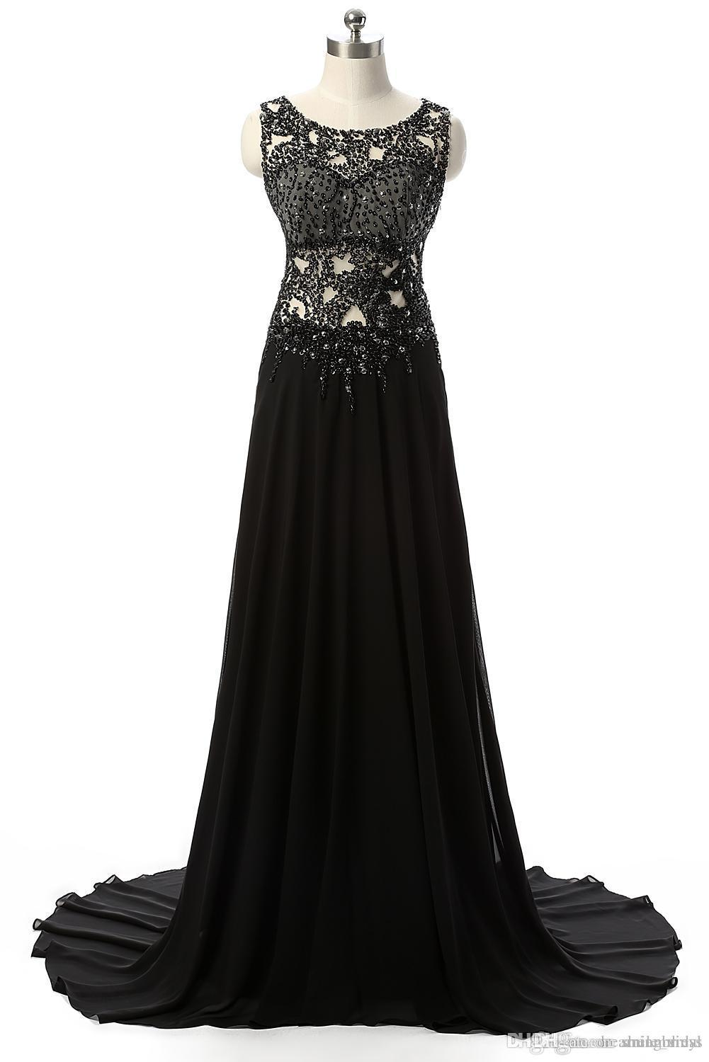 Black Evening Dresses Long A Line See Through Beads Chiffon Sweep Train Formal Party Prom Dresses 2018 For Women JMC55