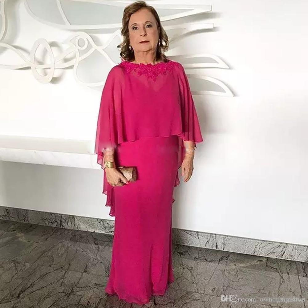 Elegant Fuchsia Mother Of The Bride Dresses With Removeable Cape Cheap Long Chiffon Wedding Guest Gowns Groom Mothers Formal Wear Plus Size