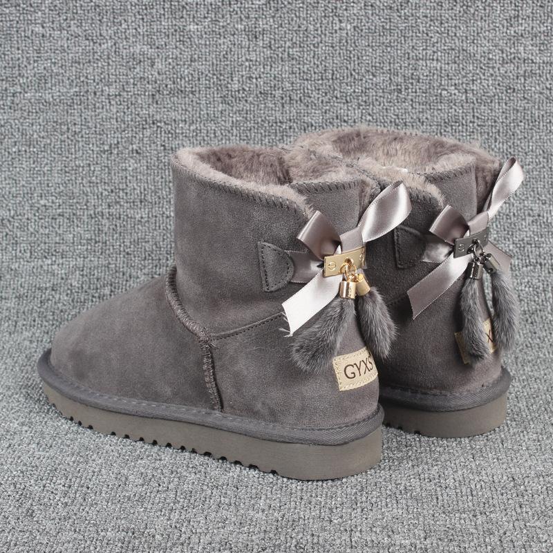 Taglie 35-43 di alta qualità arco nodo bovina, stivali di pelle neve, stivali di pelle spessa, stivaletti delle donne di temperamento