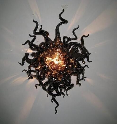 Murano Siyah Lambaları Retro Vintage El Üflemeli Aplik Ev Deco Cam Sanat Duvar Aydınlatma LED Ampuller Özel Renk ve Boyutu