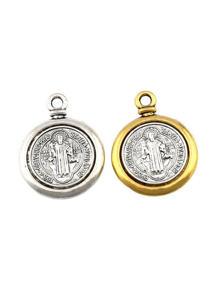 50pcs Pendentifs de charme Croix de la médaille San Benedetto pour la fabrication de bijoux Collier Bracelet Accessoires DIY