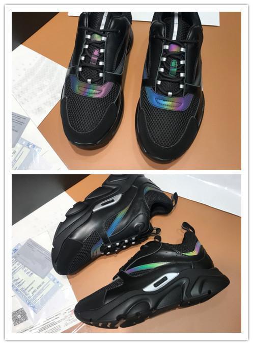 Designer B22 Sneaker Vintage Hommes Chaussures Femmes luxe plat toile et cuir de vachette Formateurs bas chausse lacets Patchwork Chaussures de course H68
