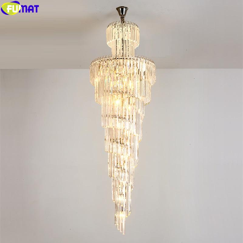 FUMAT Crystal K9 Column Pendant Lamps Villa Stair Living Room Light Spiral Court European Style Light Chandelier Hanging Fixture