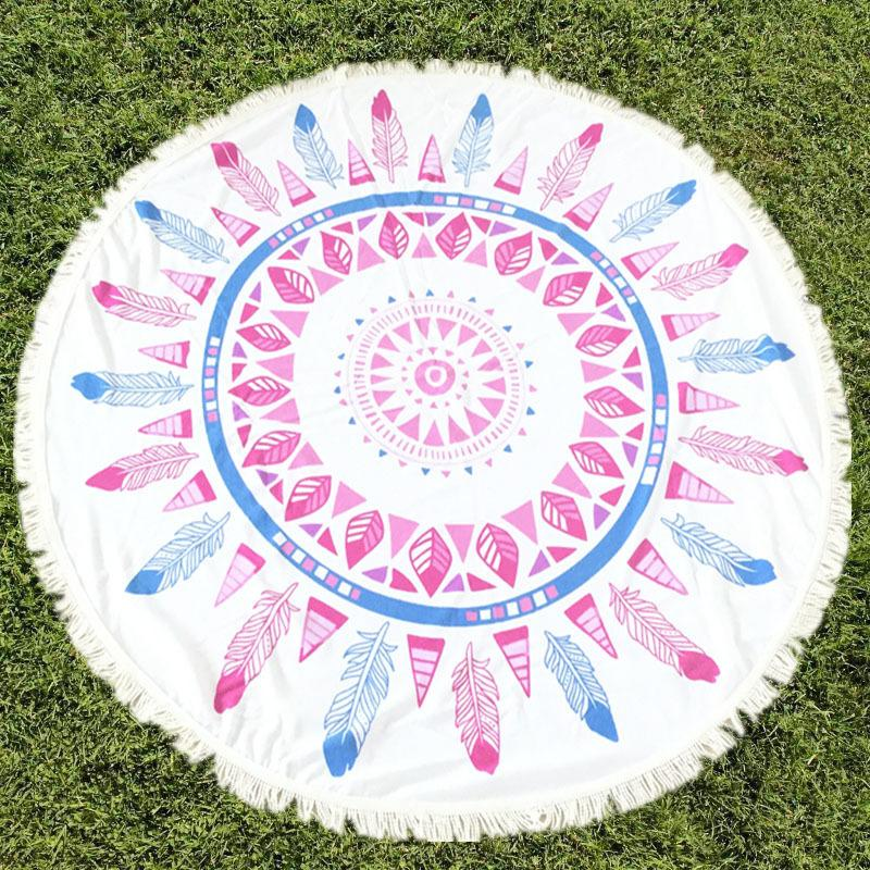 High Quality Fiber 40 Designs Round Beach Towel Mandala Tapestries Boho SPA Wraps Bikini Cover UP Sexy Beachwear Bath Throw Shawl 150CM