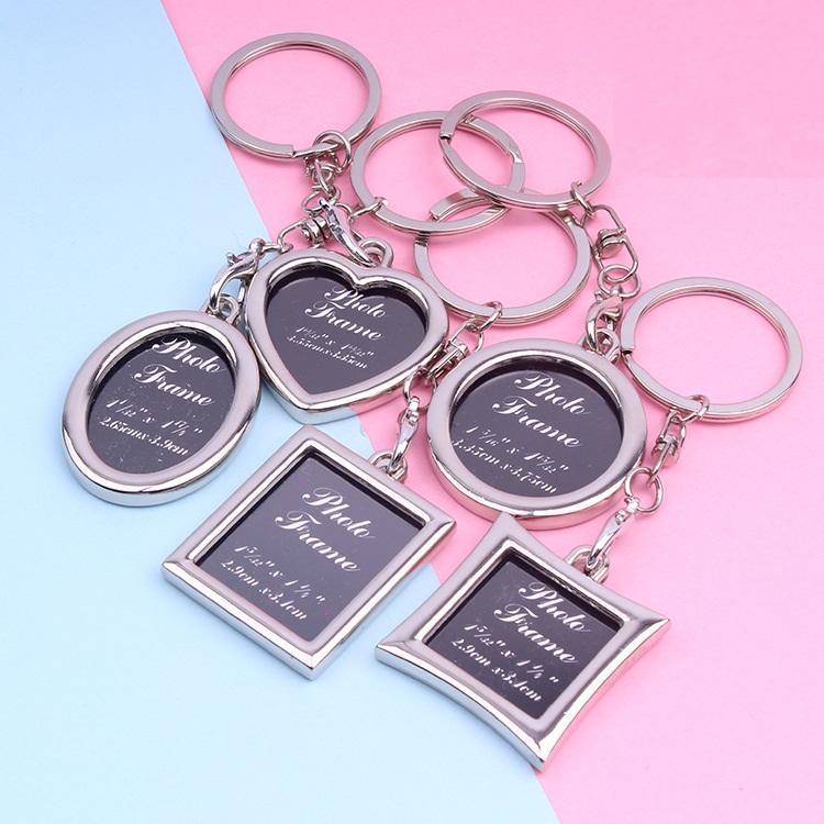 6 stili creativi Photo Frame Lovers Key Anello 4 centimetri quadrati in lega di cuore di personalità catena chiave foto Souvenir L633